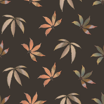 Vector cannabis leaves seamless pattern background. Hand drawn monochrome hemp foliage backdrop. Stylish erthy brown botanical marijuana design. All over print for wellness, health, self care concept