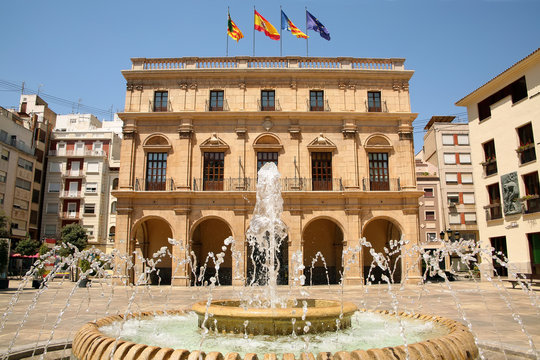 Castellón City Council or Palau Municipal in Castellón de la Plana, Valencia, Spain. Baroque style, overlooks the Plaza Mayor, in front of the co-cathedral of Santa Maria and El Fadrí .