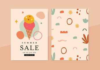 Summer Sale Card Layout with Ice Cream