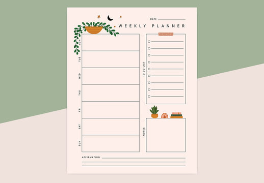 Weekly Planner Vector Layout with Plant