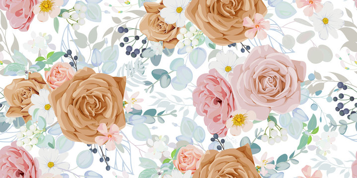 Seamless vintage pattern with floral motif for summer dress fabric
