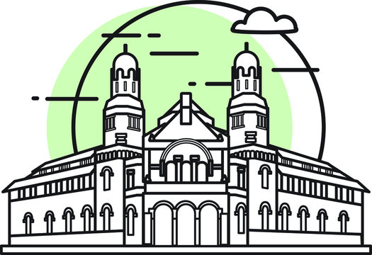 Flat vector illustration of a historic building in the city of central java, Simple outline icon design cartoon landmark for vacation travel tourist attractions. Lawang Sewu, Semarang.