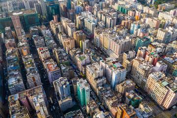 Wall Mural -  Top view of Hong Kong downtown city