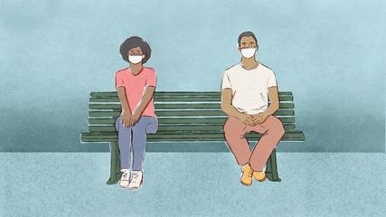 Coronavirus Social Distancing Quarantine Man and Woman on Bench