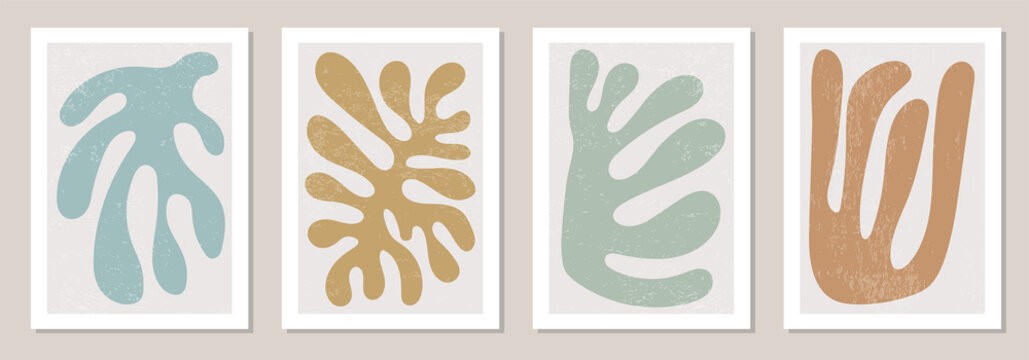 Set of Matisse inspired contemporary collage posters with abstract organic shapes in neutral colors