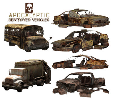 3D Apocalyptic Destroyed Vehicles