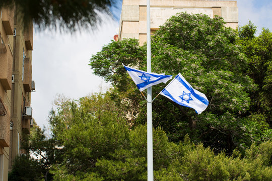 Flags and decorations for the independence day (Yom Haatzmaut) in an Israeli city.
