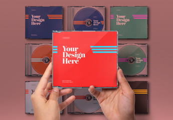 Hands Holding CD Case Mockup Set