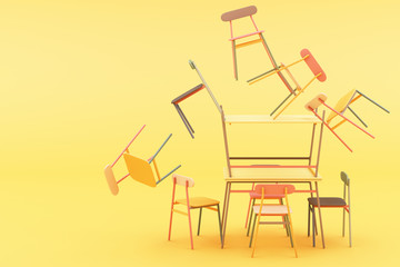 minimal chair in colorful pastel concept on yellow background 3d rendering