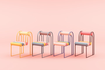 minimal chair in colorful pastel concept on pink background 3d rendering