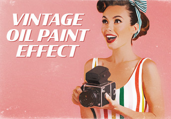 Vintage Paint Style Advertising Effect Mockup
