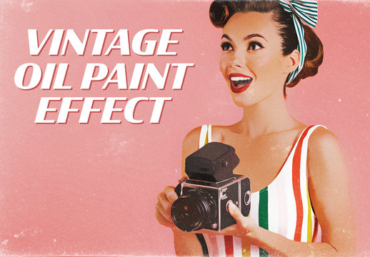 Vintage Paint Style Advertising Effect Mockup