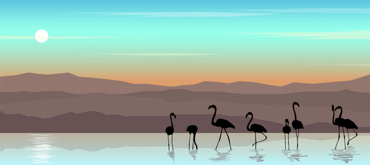 Foto auf Gartenposter Reef grun Beautiful landscape with sunset.Vector illustration of seascape with flamingos.