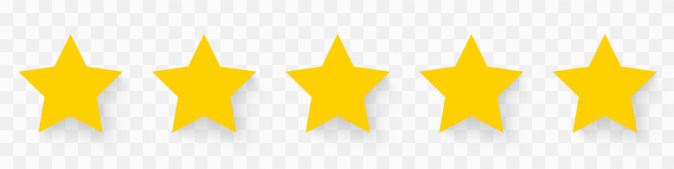 5 gold stars quality rating icon. Five yellow star product quality rating. Golden star vector icons. Stars in modern simple with shadow - stock vector.