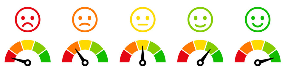 Speedometer, tachometer icon. Colour speedometer set. Scale from red to green performance measurement. Rating satisfaction concept with emotions - stock vector.