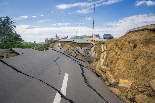 Portoviejo, Ecuador - April, 18, 2016: Cracked road after 7.8 earthquake