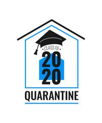Class of 2020 quarantine. Black number, education academic cap on blue and white background. Coronavirus quarantine 2020. Vector illustration.