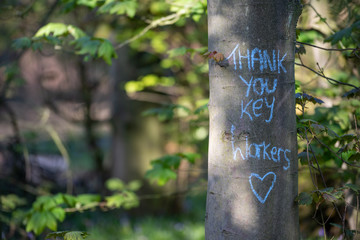 Thank you, key workers wrote on a tree trunk COVID19