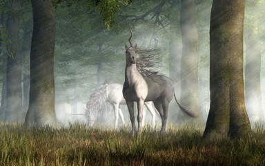 A pair of unicorns, mythical horses of legend and fantasy, with a single spiral horn on their head, graze in a forest. One of them looks at you. 3D Rendering