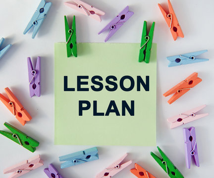 Lesson plan - text on notes sheet and colorful clothespins