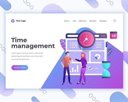 Landing page template time management concept with office people