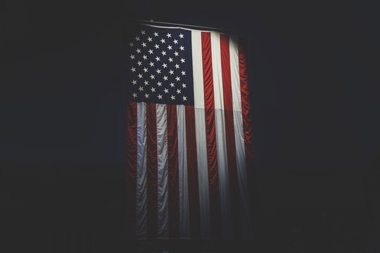 American Flag Against Black Background