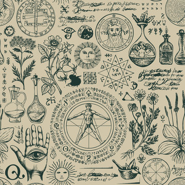Vector seamless pattern on the theme of alchemy and healing in retro style. A repeatable background with hand-drawn sketches, unreadable notes, various herbs and ancient alchemical symbols