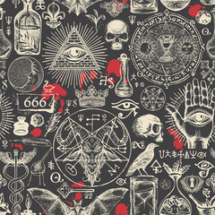 Vector seamless pattern on a theme of satanism, occultism and freemasonry in retro style. Abstract repeating illustration with hand-drawn sketches and blood drops on the black background
