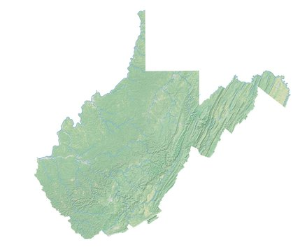 High resolution topographic map of West Virginia with land cover, rivers and shaded relief in 1:1.000.000 scale.