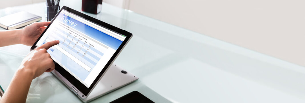 Businessperson Filling Online Survey Form On Digital Laptop