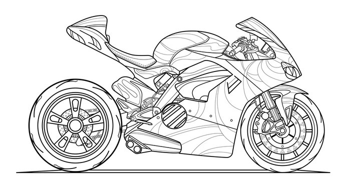 Adult motorcycle coloring page for book and drawing. Stroke without fill. Race. Vector illustration. High speed vehicle. Graphic element. Black contour sketch illustrate Isolated on white background