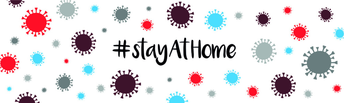 StayAtHome Coronavirus Covid-19 Banner pattern. Vector illustrations isolated on white background.