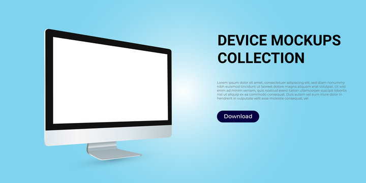 Realistic template mock up of a computer desktop. Rotated wide pc screen for web design, webpages, banners, landings, presentations.