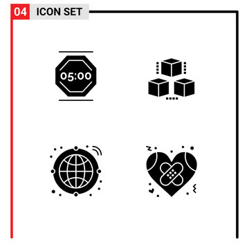 Modern Set of 4 Solid Glyphs Pictograph of stop work, globe, work, delivrey, transfer
