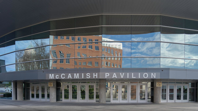Atlanta, Georgia, USA - January 16, 2020: Entrance of Hank McCamish Pavilion in Atlanta, Georgia, USA. McCamish Pavilion is an indoor arena located on the campus of the Georgia Institute of Technology