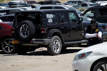 The vehicle of U.S. citizen Landers who was gunned down along with his Mexican girlfriend by unknown assailants is pictured in Ciudad Juarez