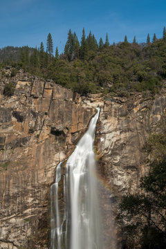 View of Feather Falls from the Trail lookout, Oroville, California, USA, with a rainbow