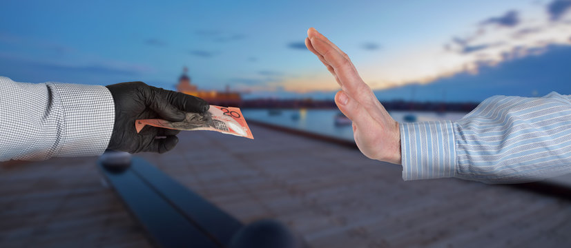 Cropped Image Of Man Refusing Money From Man Working At Harbor