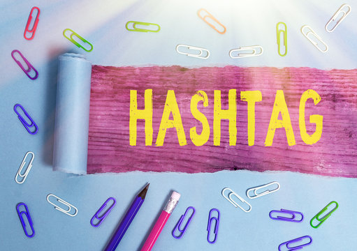 Text sign showing Hashtag. Business photo text a word or phrase preceded by a hash sign Type of metadata tag