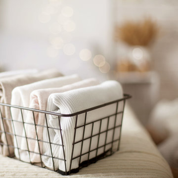 Close-up of white clothes neatly folded things