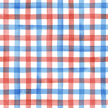 Watercolor gingham check , hand painted seamless vector pattern,