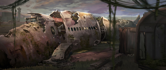 A digital illustration of an abandoned plane wreck with texture brushstroke technique.