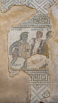 Mosaic of gladiators divided by referee, end of 3rd century AD, House of gladiators. Kourion.