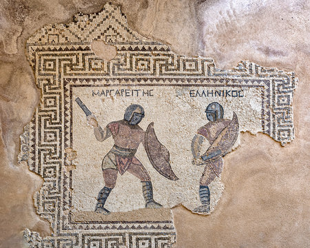 Mosaic of two gladiators, Margarites (left) and Hellenikos (right), late-3rd century CE, House of the Gladiators, Kourion (Cyprus)