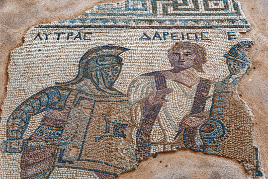 Mosaic of gladiators divided by referee, end of 3rd century AD, House of gladiators. Kourion. Captions: names of gladiators and referee (Cyprus)