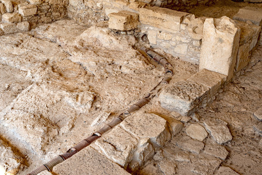 Ancient ceramic water pipe in Kourion, Cyprus.