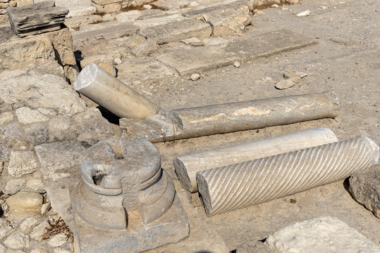 Remains of the columns of the ancient city of Kourion (Episkopi, Cyprus)