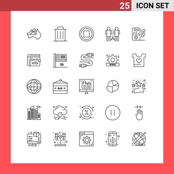 Set of 25 Modern UI Icons Symbols Signs for love, people, trash, mind, family