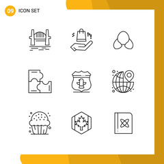 Group of 9 Modern Outlines Set for sheild, puzzle game, bra, puzzle, clothing