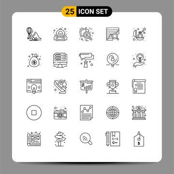 25 Creative Icons Modern Signs and Symbols of data, analytics, checkup, analytic, virus